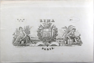 'Lima Paris' cigar label design lithograph @mid 1800s