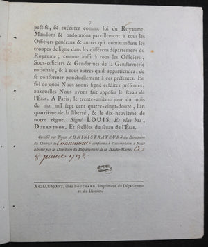 Loi relative création Compagnies Franches 1792