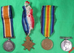 Set of 4 Pre-WW1 and WW1 British medals awarded to sailor A.T. Livermore