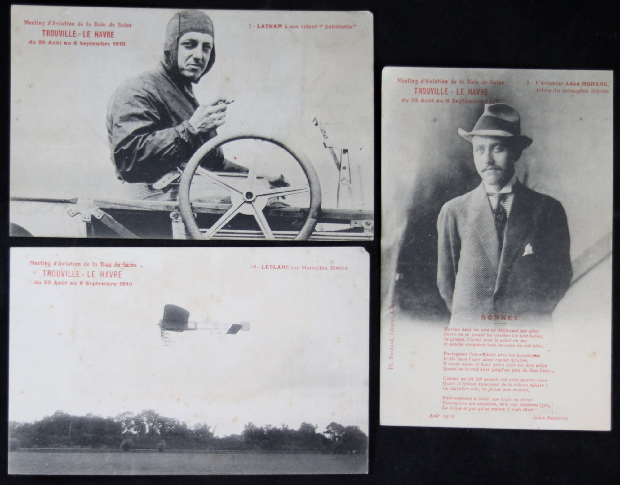 Lot #2 de six (6) CPA Aviation – Le Havre-Trouvile-Deauville 1910