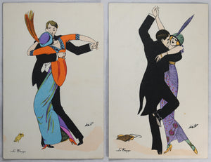 Lot CPAs postcards 'Le Tango' Xavier Sager Paris 1914