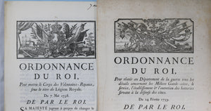 Lot de 7 ordonnances du Roi Louis XV, 1748-1772