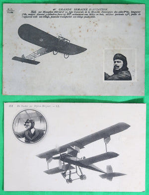 Lot de deux (2) cartes postales pionniers de l'aviation Française
