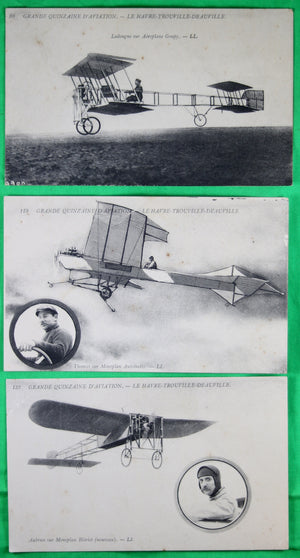 Lot de six (6) CPA Aviation – Le Havre-Trouvile-Deauville 1910
