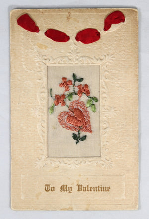 Lot of 2 silk-embroidered postcards WW1 'To my dear Mother' + Valentine