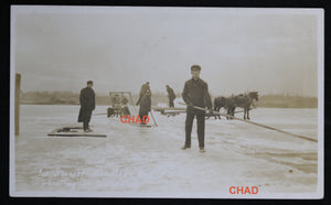 Lot of 3 photo postcards – ice harvesting Hamilton Bay Canada