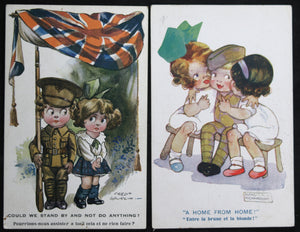 Lot of 4 WW1 UK humorous patriotic postcards with kids