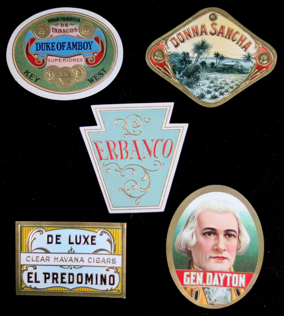 Lot of 5 vintage cigar box seal labels #1