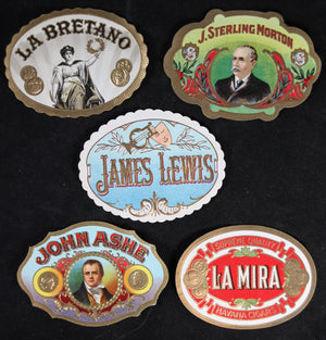 Lot of 5 vintage cigar box seal tag labels #2