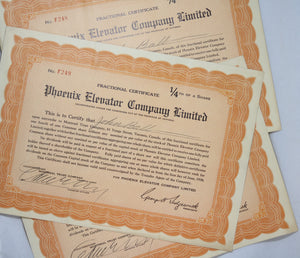 Lot of 7 stock certificates Canada & USA 1920s-30s