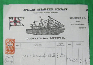 Maritime bill of lading for 1000 bags of salt, Liverpool to Loango Africa 1892