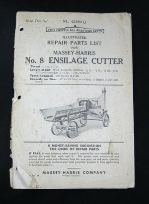 Massey-Harris Illustrated Repair Parts List No. 8 Ensilage Cutter 1939