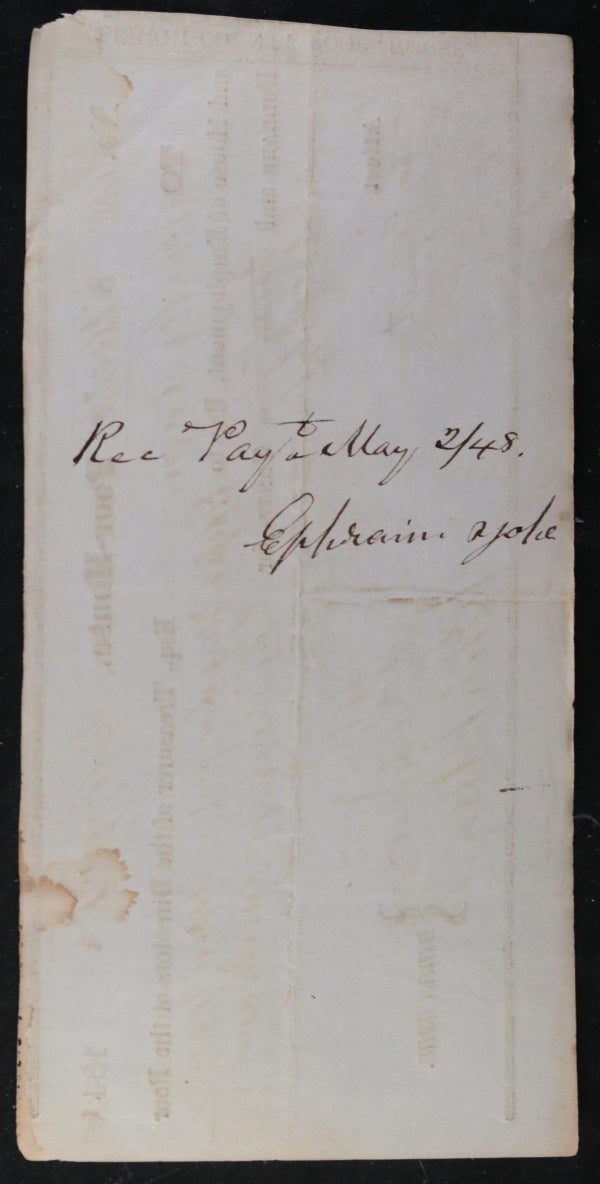 May 1st 1848 Allentown PA Lehigh County Poor-House, cheque for tobacco