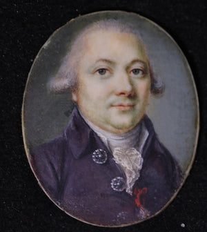 Miniature painted portrait of gentleman, end of 18th / fin 18e
