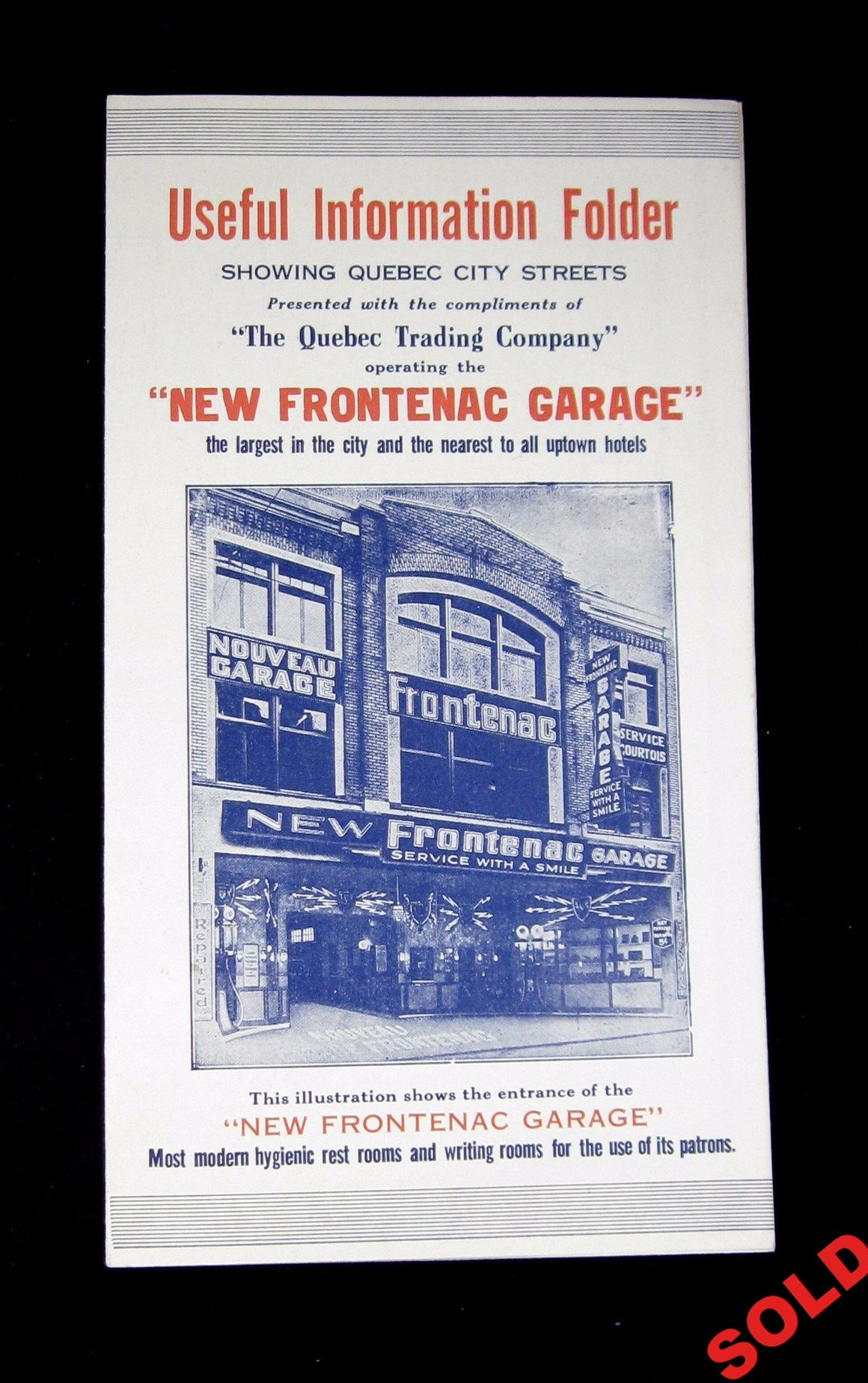 Flyer for New Frontenac Garage Quebec City (~1917)