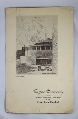 New York Central System Railway (Wayne University) - Dining Service Menu ~1952