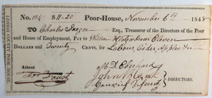 Nov. 6th 1848 Allentown PA Lehigh County Poor-House cheque: labour