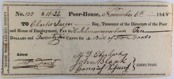 Nov. 6th 1848 Allentown PA Lehigh County Poor-House cheque store goods