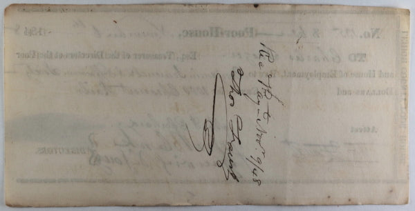 Nov. 6th 1848 Allentown PA Lehigh County Poor-House cheque wood rails
