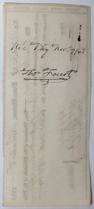 Nov 2 1848 Allentown PA Lehigh County Poor-House cheque cider & apples