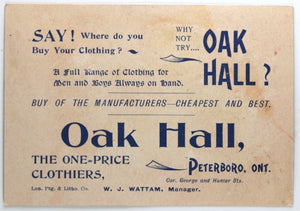 Oak Hall Clothiers Peterboro Ontario advertising trade card early 1900s