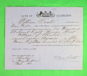 Oath of Qualification - Assessor for Clinton Ont. (1861)