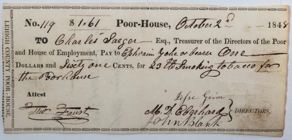 Oct 2nd 1848 Allentown PA Lehigh County Poor-House cheque for tobacco
