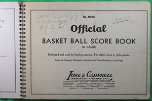 Official Basketball Score Book - Used in NY 1940-42