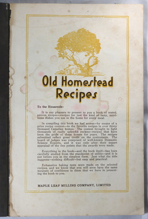'Old Homestead Recipe' booklet by Maple Leaf Mills (Canada) @1920