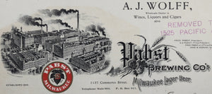Pabst Brewing color letterhead on commercial letter 1906