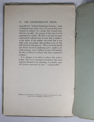 Pamphlet 'Commemorative Medal in Service of Germany' by Hill 1917