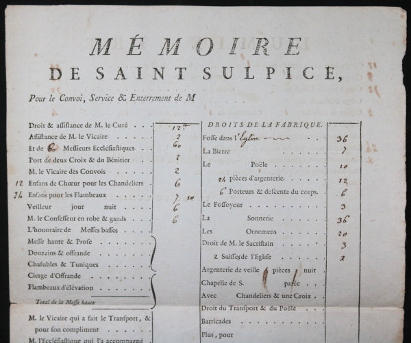 Paris 1784 mémoire de Saint-Sulpice, enterrement Baron de Vismes