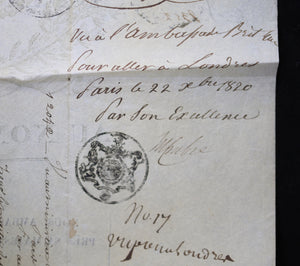 Passport pour capitaine Polonais, Londres à Calais 1820 / French passport for Polish captain, London to Calais 1820