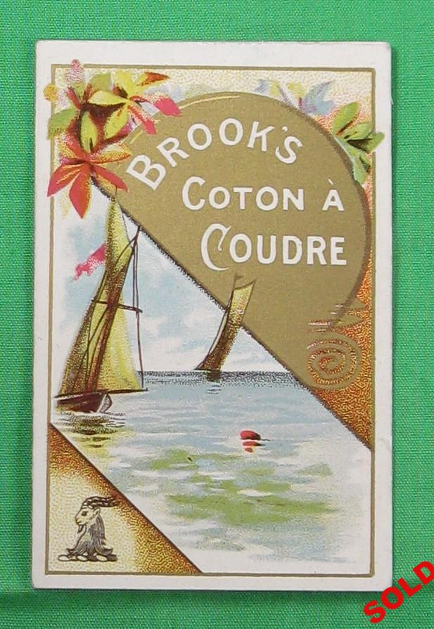 1892 petit calendrier publicitaire pour Brook's Coton à Coudre - Canada / Brooks Sewing Machine Cotton calendar