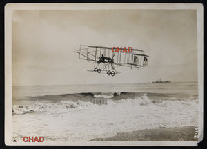 Photo biplan Farman traverse Manche @1911 Biplane crossing Channel