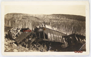 Photo of railcar derailment Ontario ~1940s