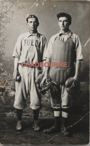 Photo postcard of catcher and pitcher, Fulda MN baseball team c. 1910s