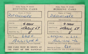 "Berthing / Bedding cards for RAF passenger on troopship ""Devonshire"" @1951"