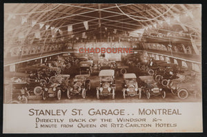 Photo postcard vintage cars in Stanley St. Garage Montreal c. 1910