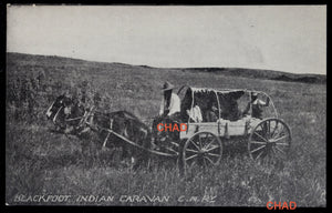 Postcard CNR photo Blackfoot Indian Caravan Saskatchewan @1920