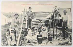Postcard Canada photo Aboriginal family cooking CPR @1910