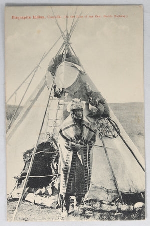 Postcard Canada photo Aboriginal man in front of Teepee CPR @1910