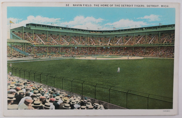 Postcard of Detroit Tigers baseball game at Navin Field c. 1920s