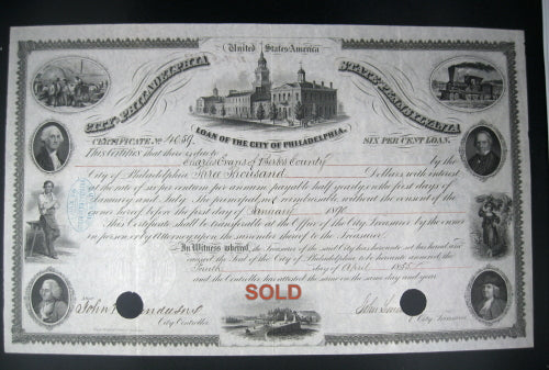 1855 Pre-Civil War Loan of the City of Philadelphia Bond certificate - $3000