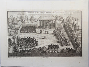 Print 'Coronation of the King of Whidah, April 1725 from Marchais.' 1745-7