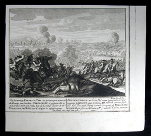 Print Death of King Charles XII of Sweden while storming Fredrikshald in Norway, December 11th, 1718. (@1730)
