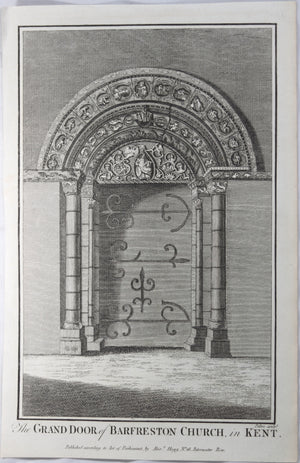 Print 'Grand door of Barfreston Church, in Kent'  @1790