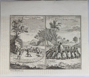 Print 'Hottentot Corn-Threshing from Kolben' and 'Hottentot Marriage from Kolben' 1745-7