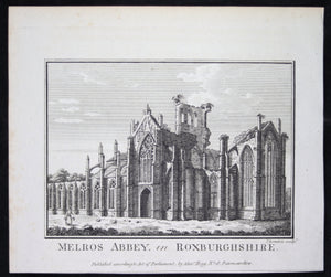 Print 'Melros Abbey in Roxburghshire' @1790