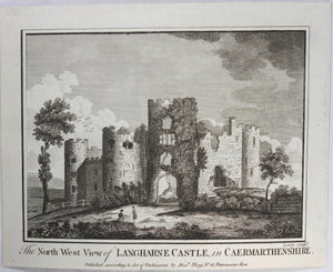 Print 'The North West View of Langharne Castle, in Caermarthenshire' @1790